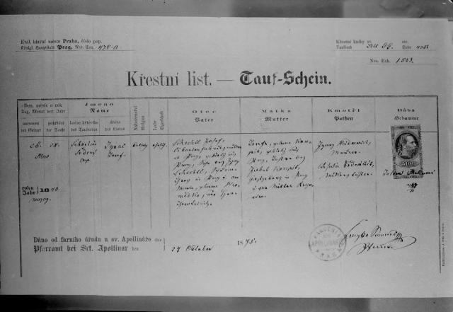 Czech Name: Křestní List Ignáce Šechtla